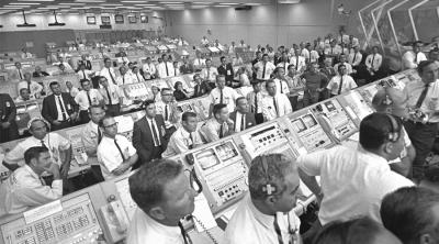moon landing NASA control room